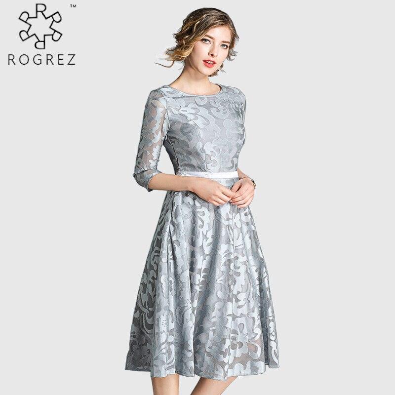 ROGREZ Blue Silver Elegant A Line Women Dress Half Sleeve Knee Length Floral Midi High Waist Party Dresses Autumn