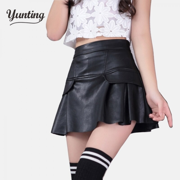 Free shipping new high waist high quality leather skater flare skirt mini skirt above knee solid color skirt S/M/L/XL/2XL