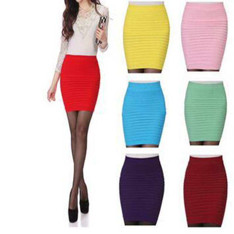 17 Fashion Women Skirts Candy Color Ladies Elastic High Waist Summer Pencil Skirts 14 Colors D001 1