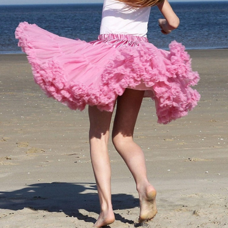 Womens Solid Color Tulle Skirts Fluffy Tutus Pettiskirts Tutu Skirts Big Girls Princess Party Skirt For Lady adult tulle skirt 2