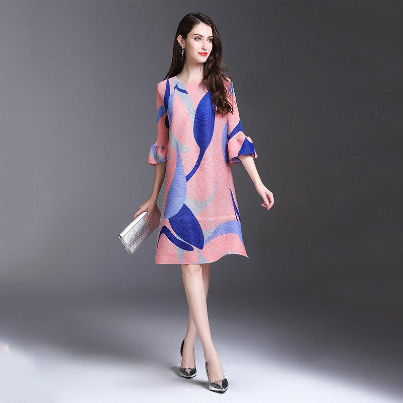 TVVOVVIN 19 New Pleated For Women Flare Half Sleeve Printed Dress Female High Quality Clothing Vestido E004 3