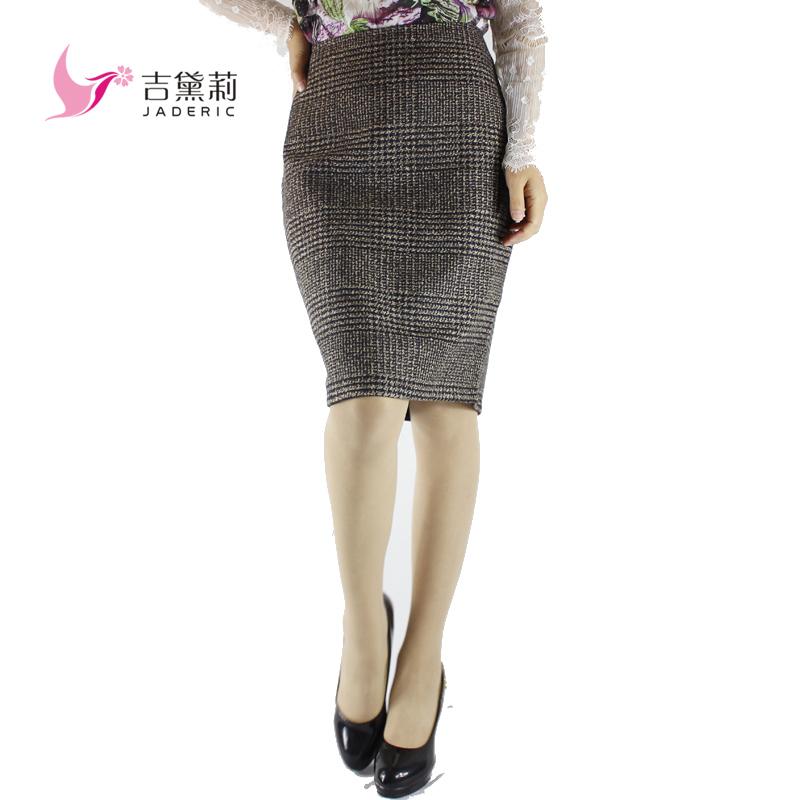 Jaderic Vintage Bodycon Skirt High Waist Women Knee Length Pencil Skirt Plaid OL Office Elegant Skirts Womens 18
