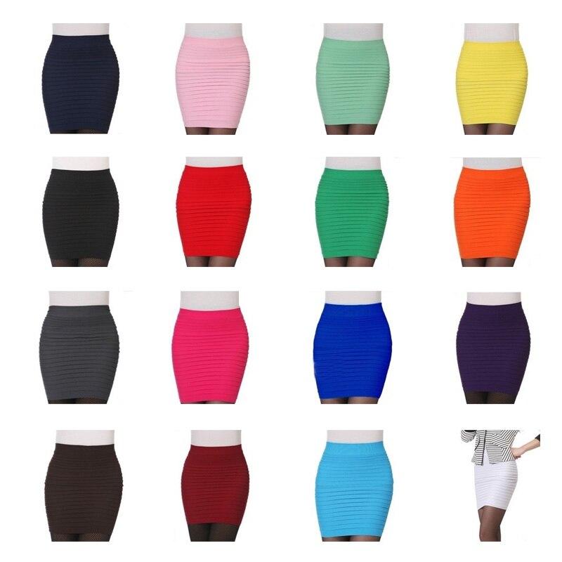 100% New 15 Colors Summer Lady Short Mini Jupe Bandage Slim Bodycon Fashion Skirts High Waist Elastic Pleated Hip Short Skirt 2