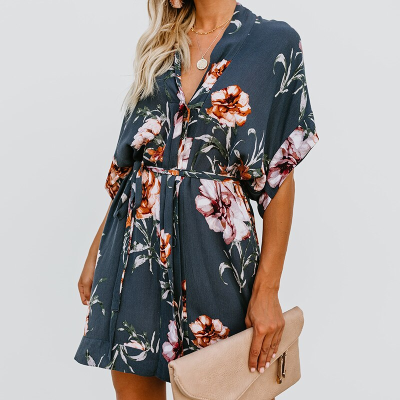 19 New Summer Women Boho Style Floral Print Dress Lace Up Sexy Deep V-neck Half Sleeve Beach Sundress Dress Female 1