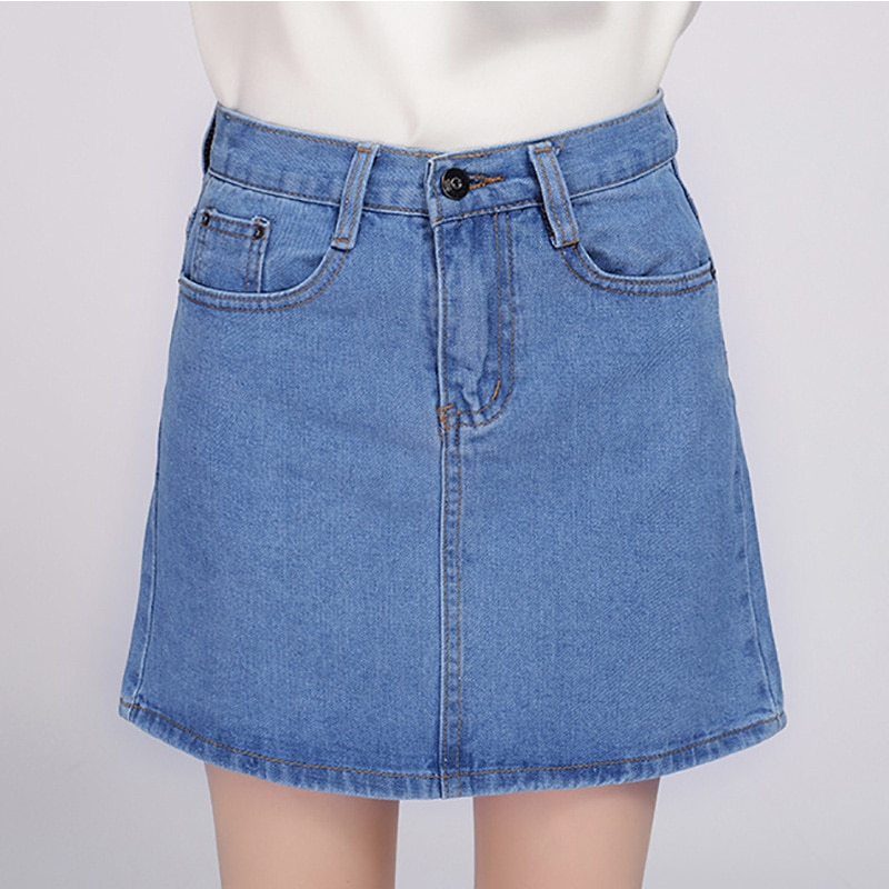 18 Denim Skirt Women Winter Autumn Vintage Casual Female A-Line Jeans Ladies Office Mini Skirt Saia Plus Size S-3XL 3 Colors 1