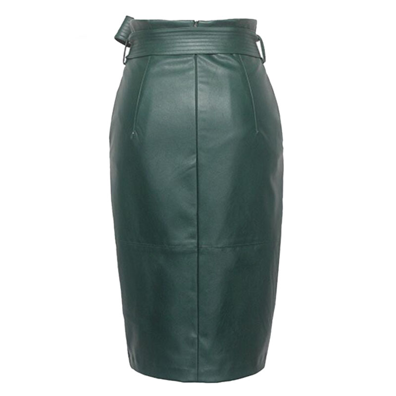 3XL 4XL PU leather Skirt Women Plus Size Autumn Winter Sexy High Waist Faux leather Skirts Womens Belted Fashion Pencil Skirt 2