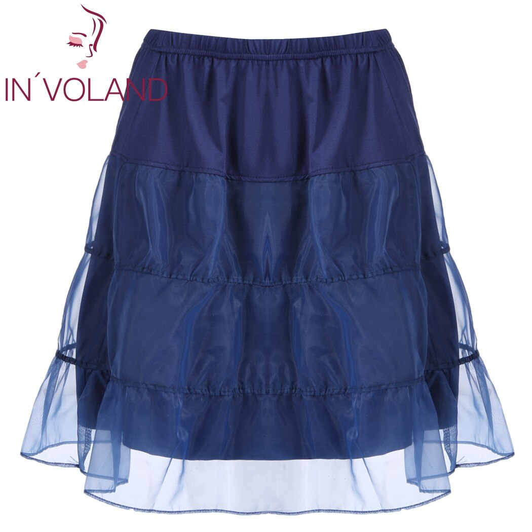 IN'VOLAND Women Skirt Plus Size Organza Patchwork Elastic Band Casual Flared Lady A-Line Tiered Beach Skater Skirt Plus Size 1