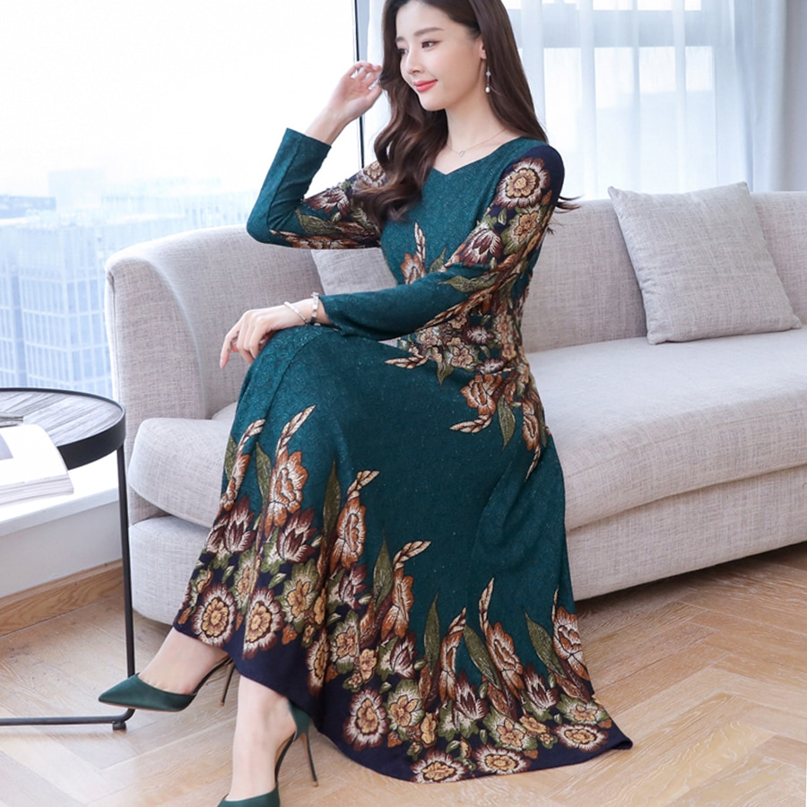 19 autumn new fashion long sleeve temperament slim long dress women casual plus size elegant dresses 1