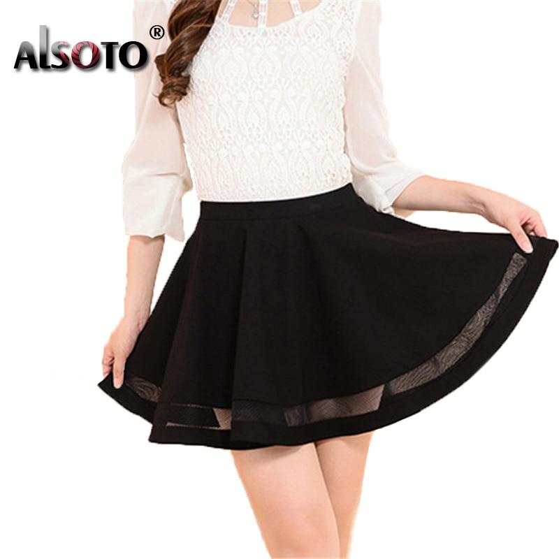 ALSOTO Summer Women Skirt Sexy Saia Short Skater Skirts for Ladies Black Pleated Tutu School Skirt Fashion Faldas Jupe Ball Gown 1