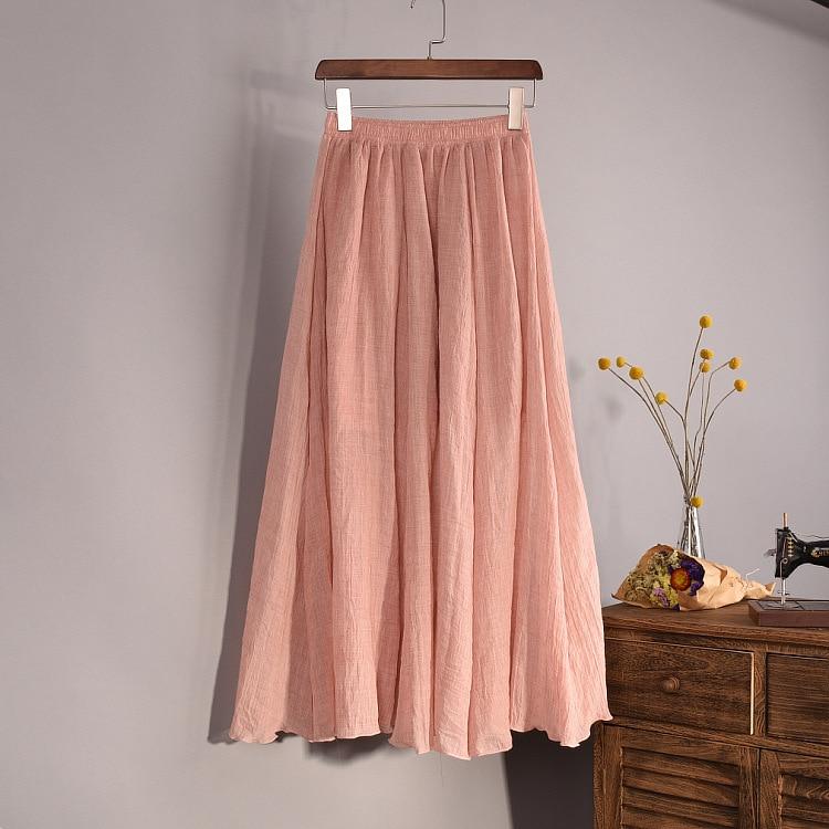 Women's Elegant 16 Color High Waist Elastic Waist Linen Pleated Long Skirts Ladies Slim Casual Skirt Saias New 18 Summer SK05 2