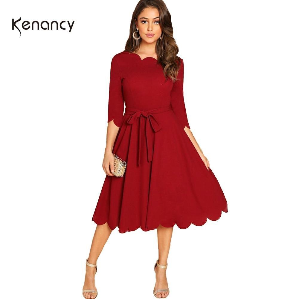 Kenancy Solid Plus Size Women Causal Dress Autumn Wave Cut Half Sleeve Femme Party Dresses Lace Up A-Line Midi Feminino Vestidos