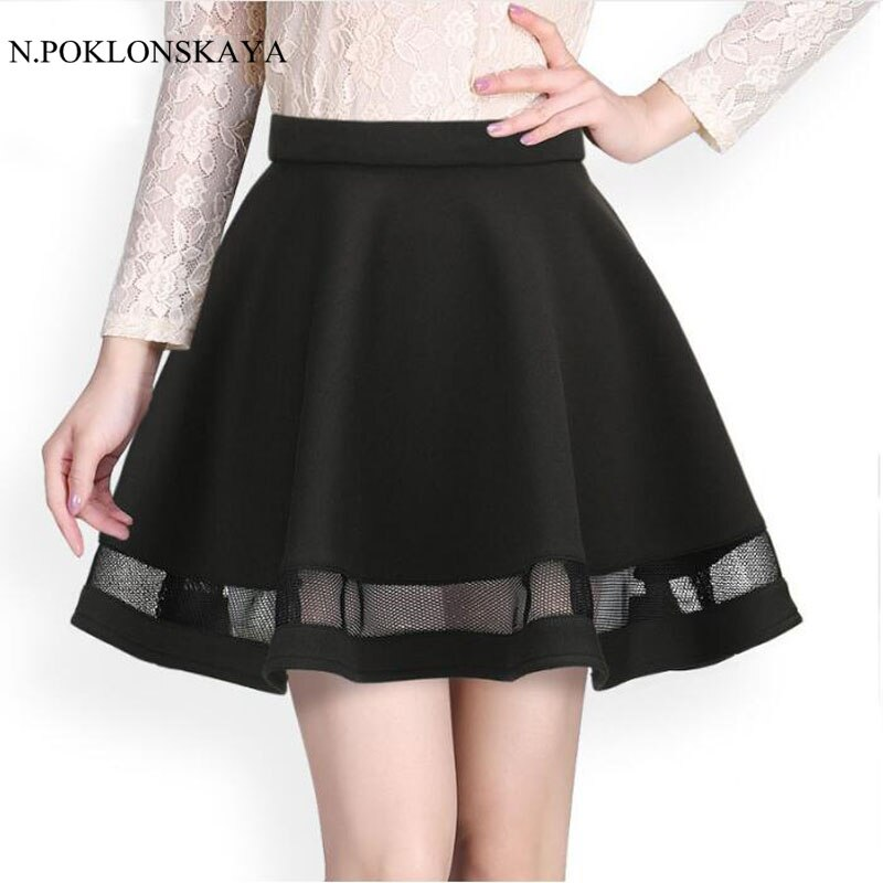 Fashion Grid women skirt elastic faldas ladies tulle midi skirt Sexy Girls lolita mini Pleated tutu skirts womens saias jupe 1