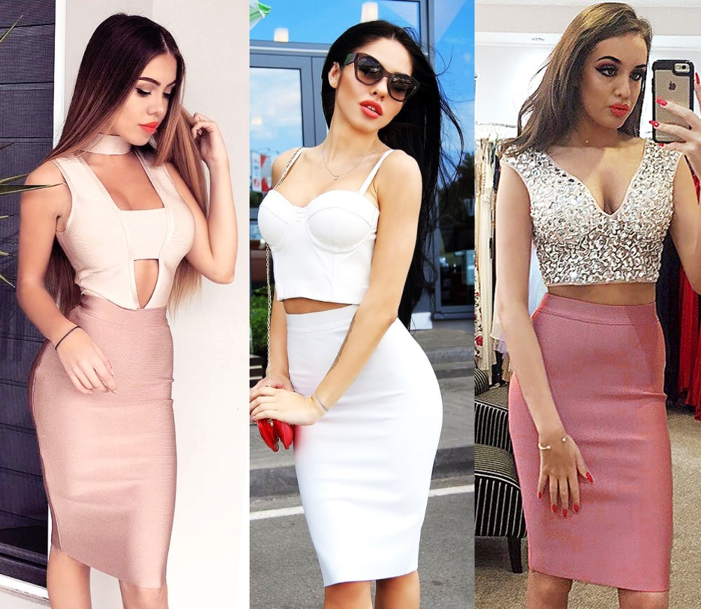 Bqueen 19 New Women's Bandage Skirt Summer Fashion Knee-length Solid Color Slim Bodycon Skirt Wear To Work Fashion Hot 3