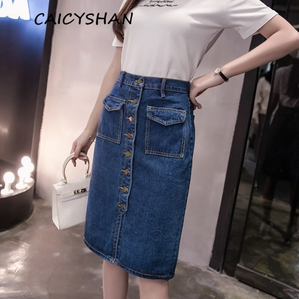 New Summer Women Skirt Fashion Vestido Plus Size Solid Pockets Single-Breasted Jeans Skirt For Women Large Size Denim Midiskirt