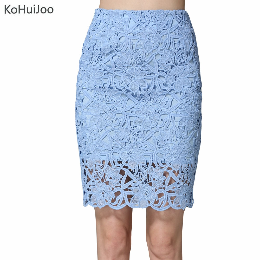 KoHuiJoo 19 Summer Lace Skirts Women Plus Size Hollow Out Lady Sexy Pencil Skirt Big Size High Waist High Quality White Blue 1
