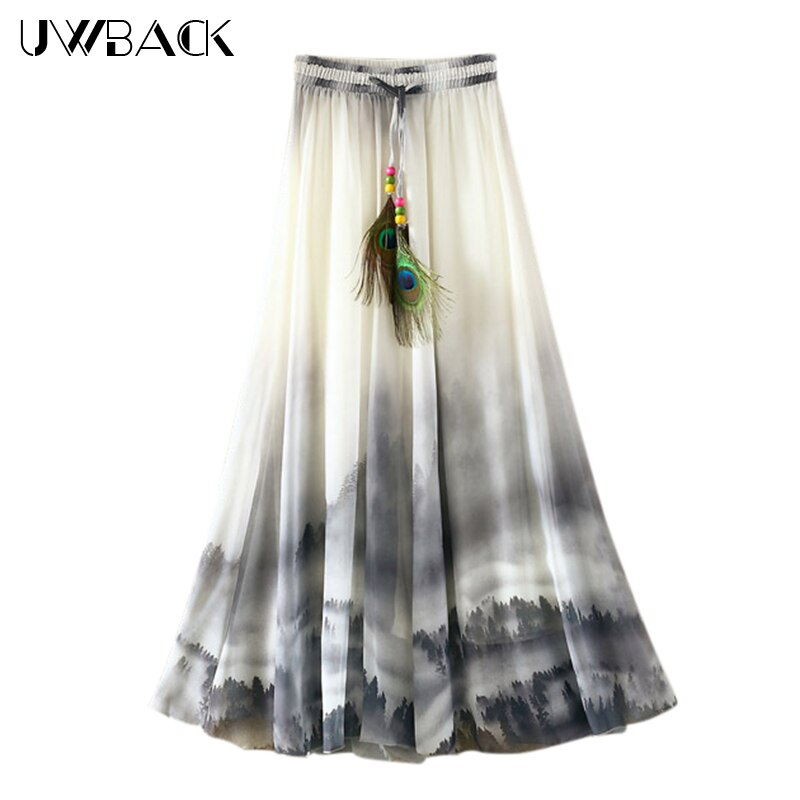Uwback Max Skirt Women 18 New Summer Chiffon Skirts Woman Pleated Print Boho Elastic Waist Women Causal Saias Mujer TB1396 1