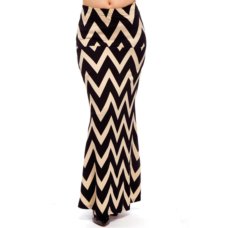 ACEVOG Brand Women Maxi Long Skirt Fashion Ladies Geometric Pattern Casual Stretch Skirt Saia Feminina 4 Seasons 3