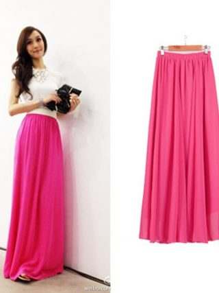 Women Chiffon long skirt Candy Color Pleated Women Skirts 18 Summer Skirts in floor 100cm length 19Colors long saia