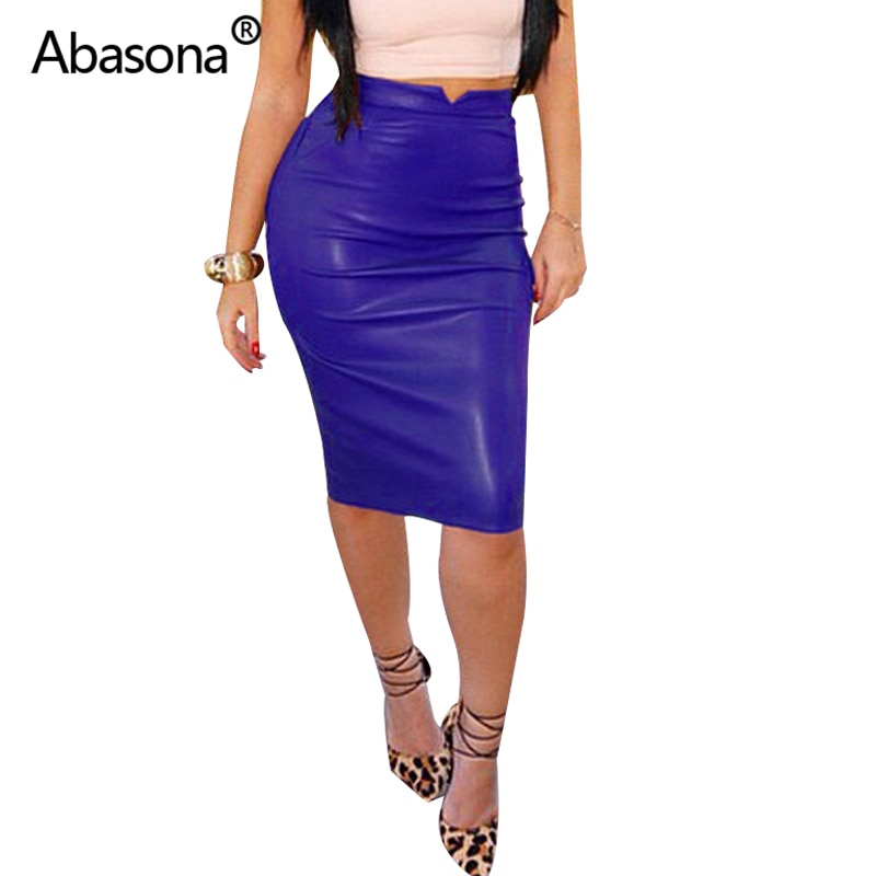 Women Pu Leather Skirt Autumn Streetwear Casual Office Work Wear Bodycon Pencil Skirt High Waist Long Velvet Skirts Women Jupe 2