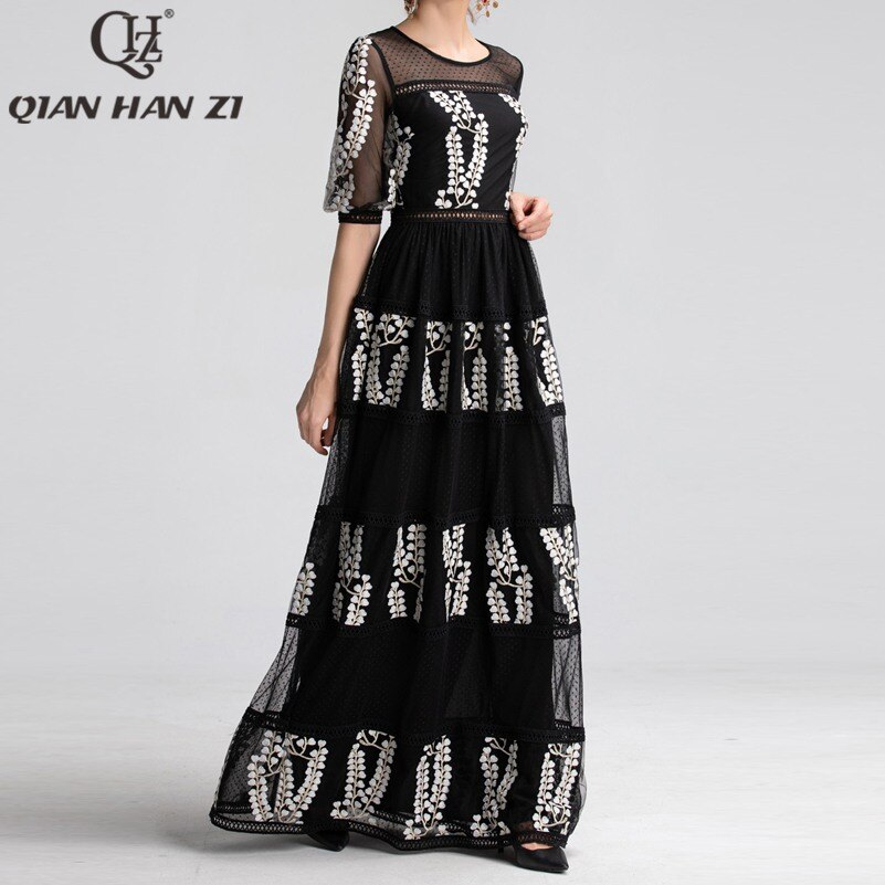 Qian Han Zi newest Designer Runway Maxi Dress Women Half Sleeve Mesh Embroidered Hollow Out Lace Vintage black party Long Dress 2