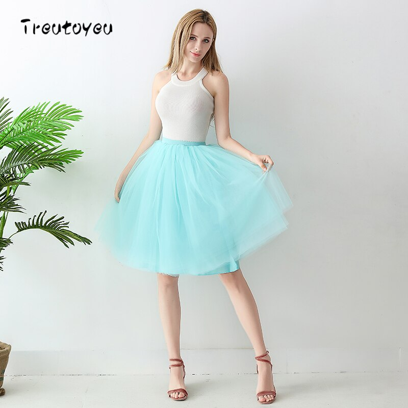 High Waist 6 Layer Midi Tulle Skirt Tutu Skirts Womens Petticoat Elastic Belt Summer faldas saia jupe 18 1