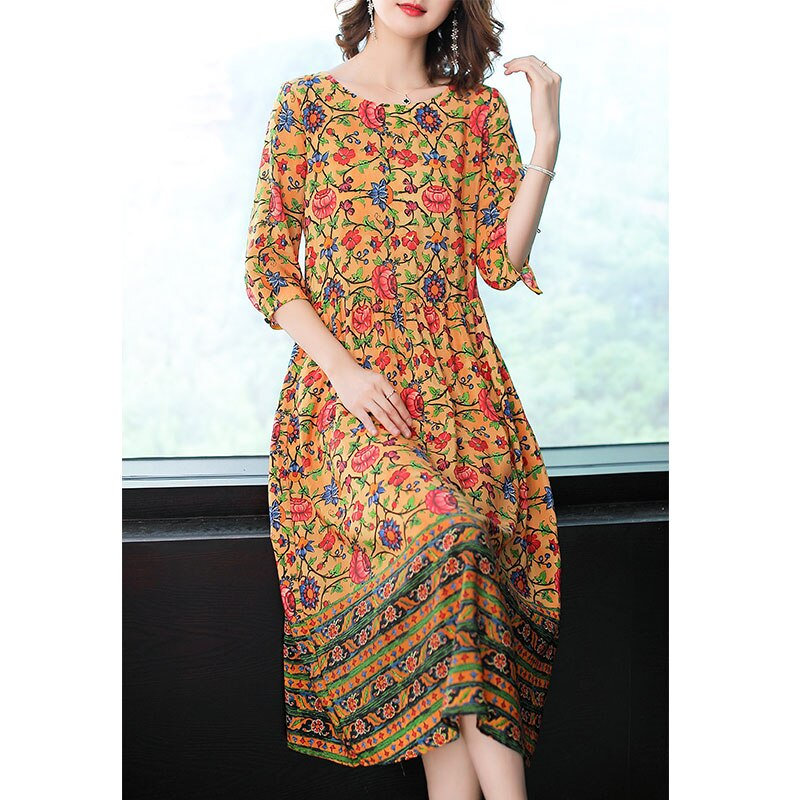 Imitate Real Silk Dress Sweet Women Clothes New Summer Fashion Half Sleeved Print Dresses Lady's Casual Party Dress 3