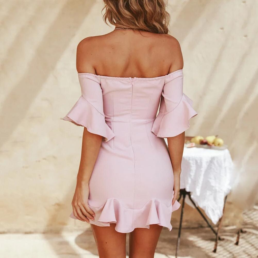 18 Spring Summer Popular Ruffled Half Sleeves Elegant Dress Bodycon Women Off Shoulder Sexy Party Dress Nightclub Short Dress 2