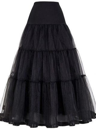 Tulle Skirts Womens Pleated Long Skirt Faldas Black Bridal Wedding Petticoat Midi 19 Skirt Saia Longa Vintage Maxi Skirts