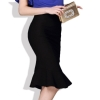 18 Women Ruffles Mermaid Skirt Female High Elastic Waist Slim Fishtail Skirts OL Formal Work Plus Size S-4XL