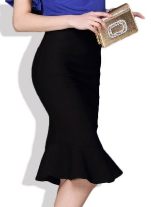 18 Women Ruffles Mermaid Skirt Female High Elastic Waist Slim Fishtail Skirts OL Formal Work Plus Size S-4XL