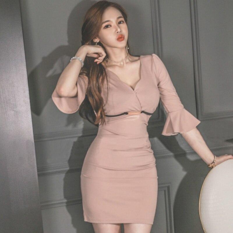 Korea Sexy Lady High Waist Flare Half Sleeve Solid Dress Women's V-Neck Mini Bodycon Club Vestidos
