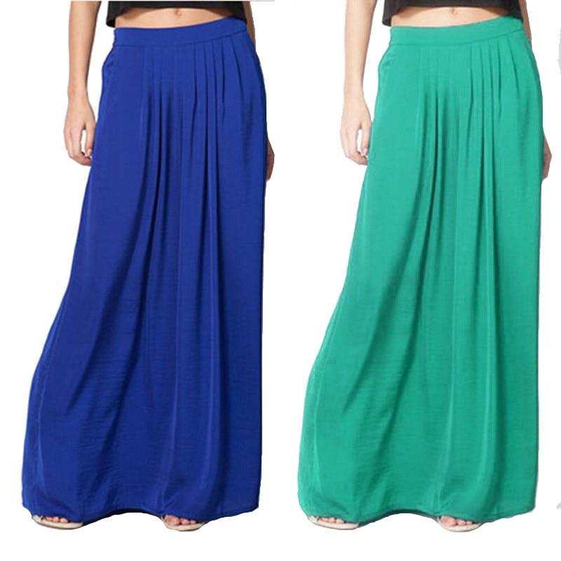 Summer Vintage Long Skirt Womens saia Elastic Waist Elegant Thin Pleate Skirt Ladies Casual Beach Solid Maxi Skirts faldas 2