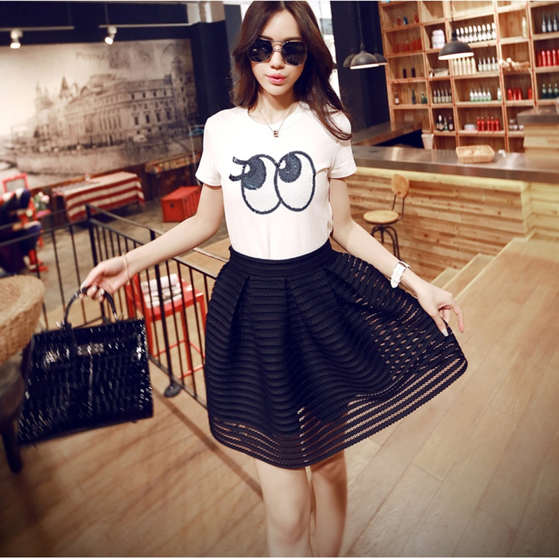17 Summer New Style Sexy Fashion Skirt Womens Striped Hollow-out Fluffy Long Skirt Swing Skirts Ladies Black/White Ball Gown 2