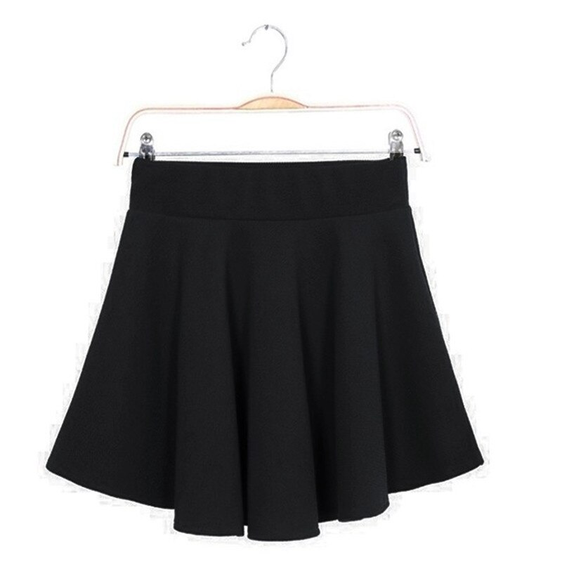 16 Summer Women Candy Color Stretch Waist Plain Skater Flared Pleated Mini Skirt Womens SolidBlue Short Skirts Wholesale 2