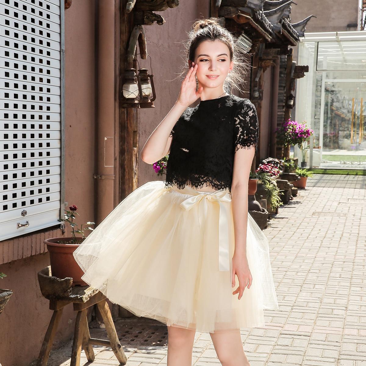 Skirts Womens 7 Layers Midi Tulle Skirt Fashion Tutu Skirts Women Ball Gown Party Petticoat 19 Lolita Faldas Saia