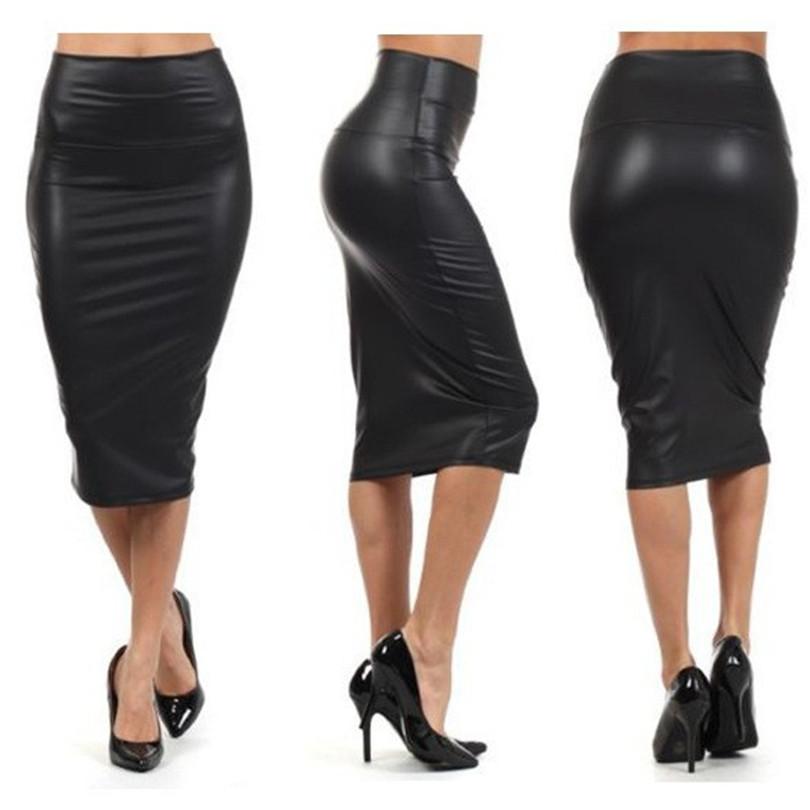 Bohotcotol High waist faux Leather Skirt XXXL Black sexy Pencil skirts middle long Casual mermaid skirt party bar club travel 1