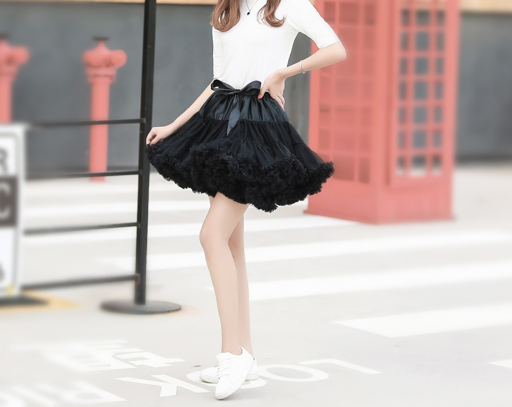 FOLOBE Adult Petticoat 2 layers Tulle 40cm Casual Skirts Tutu Skirt Women's Tutu Costume Ballet Dance Puffy Underskirts TT004 2