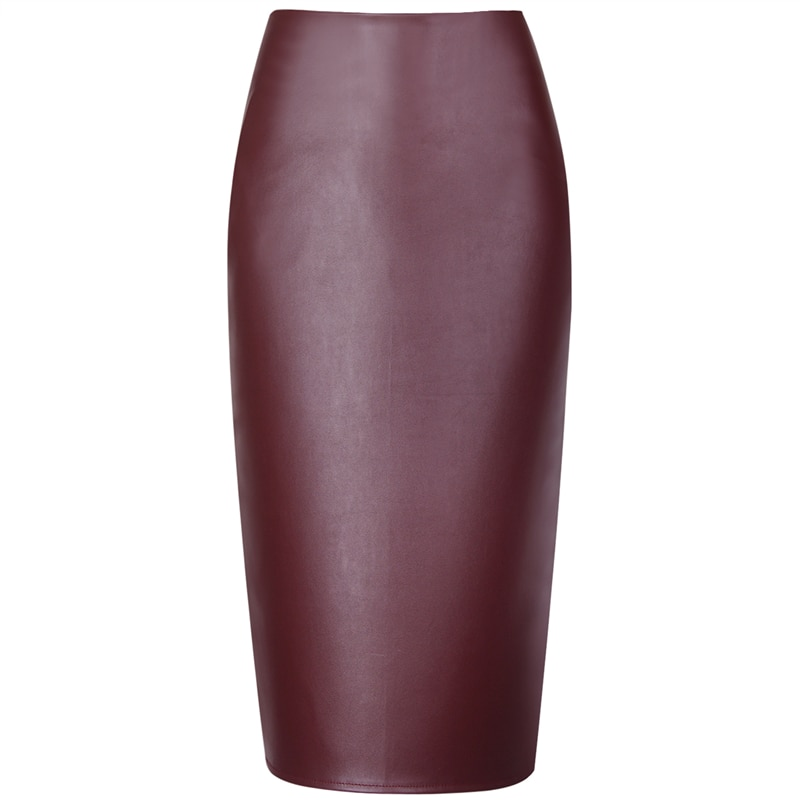 Neophil 19 Ladies Sexy Shining Faux Leather Midi Pencil Skirts High Waist Winter Elastic Bodycon Sexy Office Short Saias S0308 2