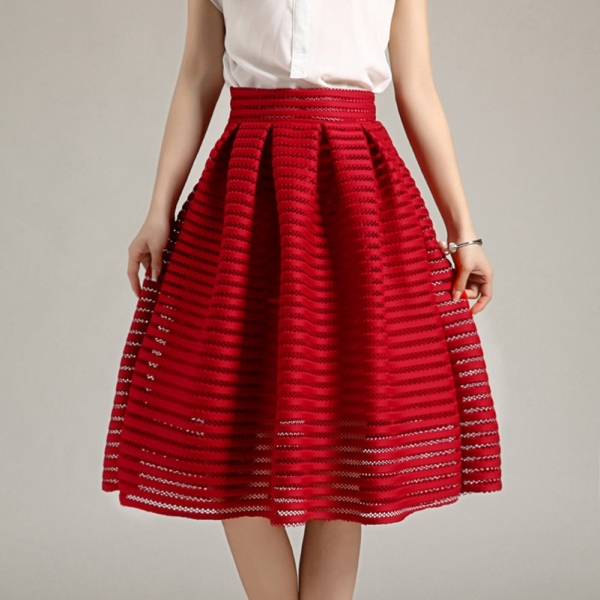 17 Large Size Summer Style Vintage Skirt Solid Reds Women Skirts Casual Hollow out fluffy Pleated Female Ball Gown long skirts