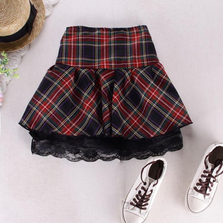 8 colors High quality school uniform skirt fashion plaid short skirt pleated lace skirt student girl Japanese preppy mini skirt 3