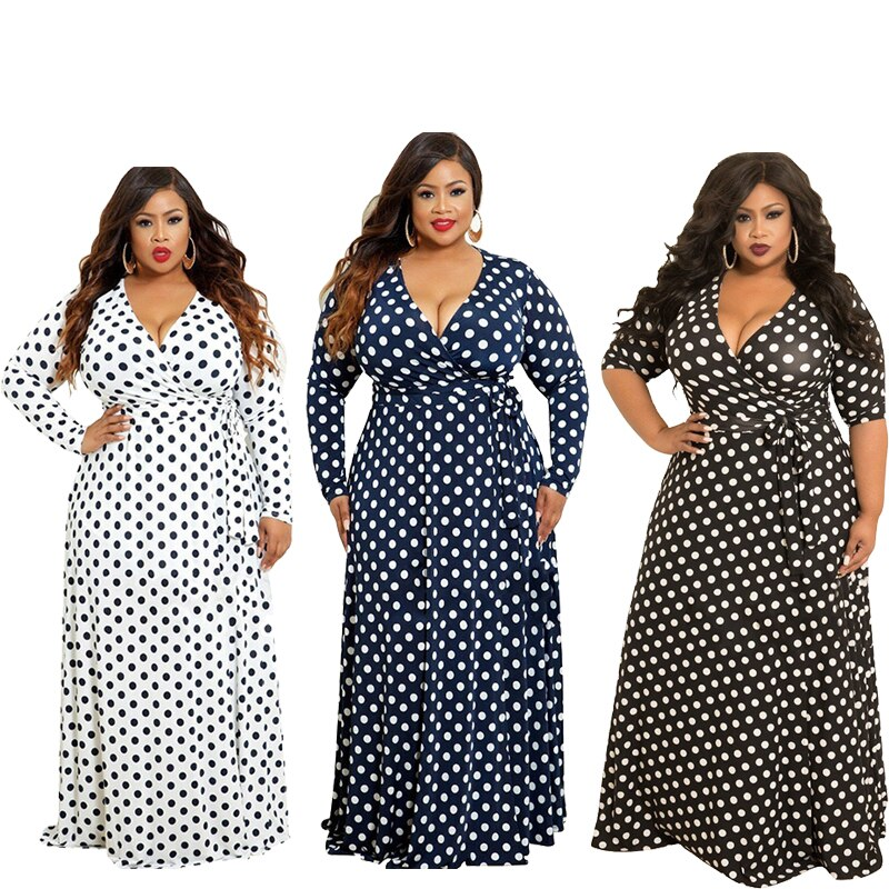 Autumn Women Plus Size Dress with Lace-up V-neck Half Sleeve Dots Digital Printing A-Line Type Big Swing Dress Floor Length