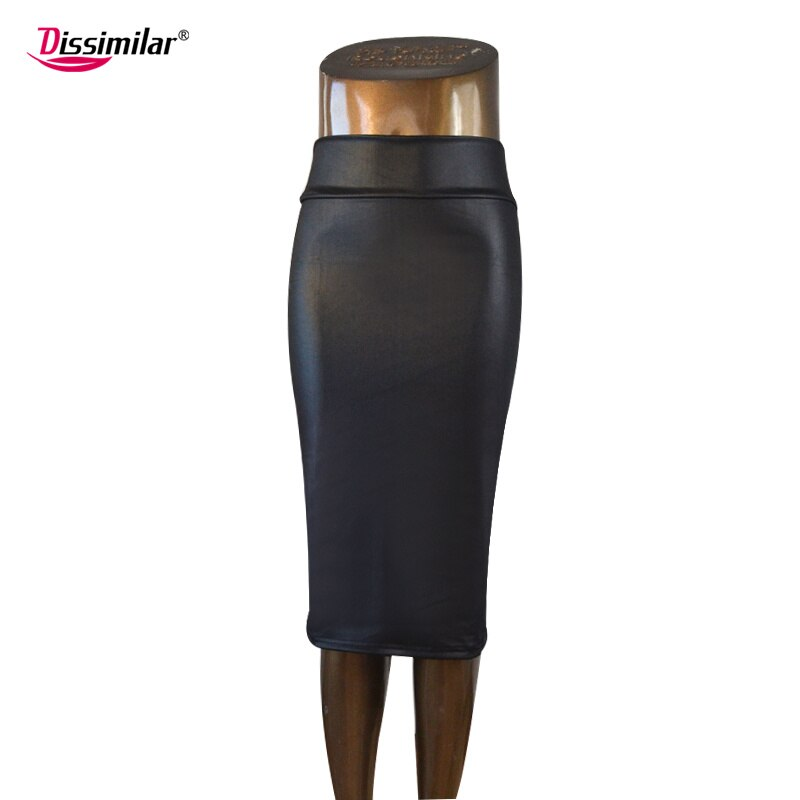 free shipping women office skirt high-waist faux leather pencil skirt black sexy elastic below knee skirt 10 colors XS/S/M/L/XL 2