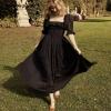 19 New Women French style 3D dot Spliced Ruffle Square Collar Maxi Long Swing Dress Black Backless Half Sleeve Dresses Vestido