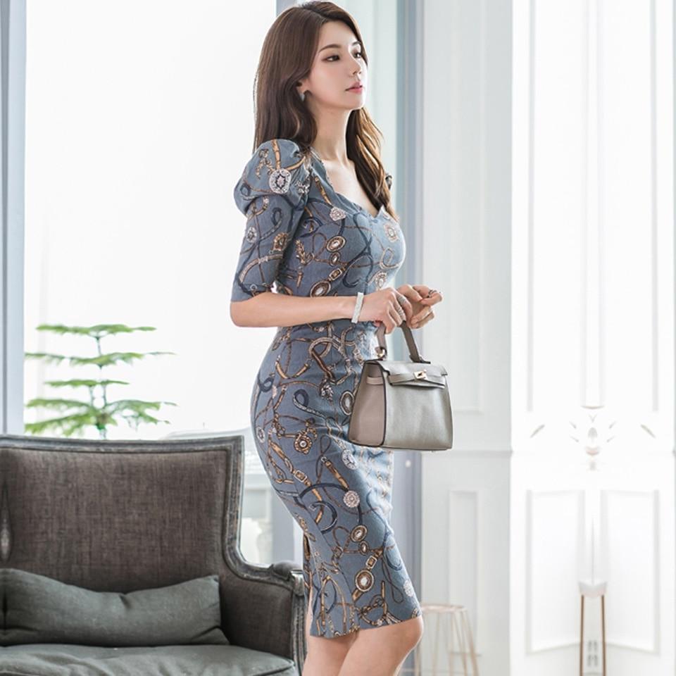 Fashion Pattern Office Lady Dress 19 Autumn High Waist Slim Decorative Belt Half Sleeve Simple Elegant Party Dress Women 3