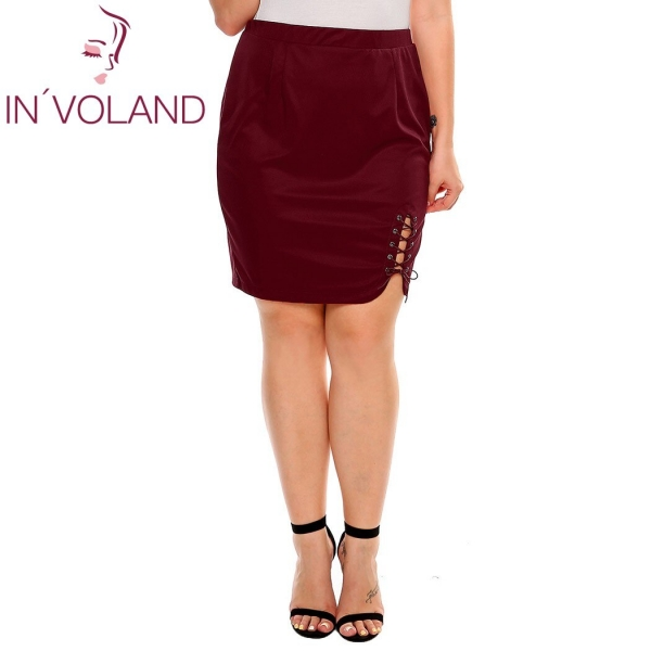 IN'VOLAND Women Short Skirt Summer Plus Size XL-4XL Solid Criss Cross Lace Up Stretch Brand High Waist Party Lady Split Skirt