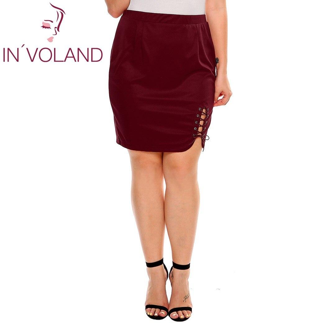 IN'VOLAND Women Short Skirt Summer Plus Size XL-4XL Solid Criss Cross Lace Up Stretch Brand High Waist Party Lady Split Skirt