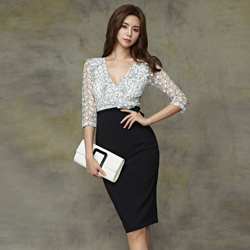 CINESSD false 2 Pieces Suits Dress For Women hollow out Half sleeve Deep v neck formal spring autumn female Office midi Dress