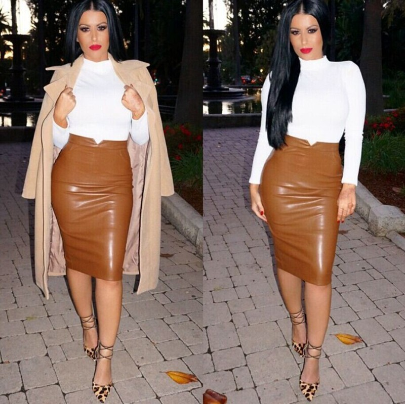 Women's Sexy Flocking Faux Leather Skirt Fashion Spring Autumn Plus Size Casual Ladies Pencil Knee-length PU Office Skirts SK42 3