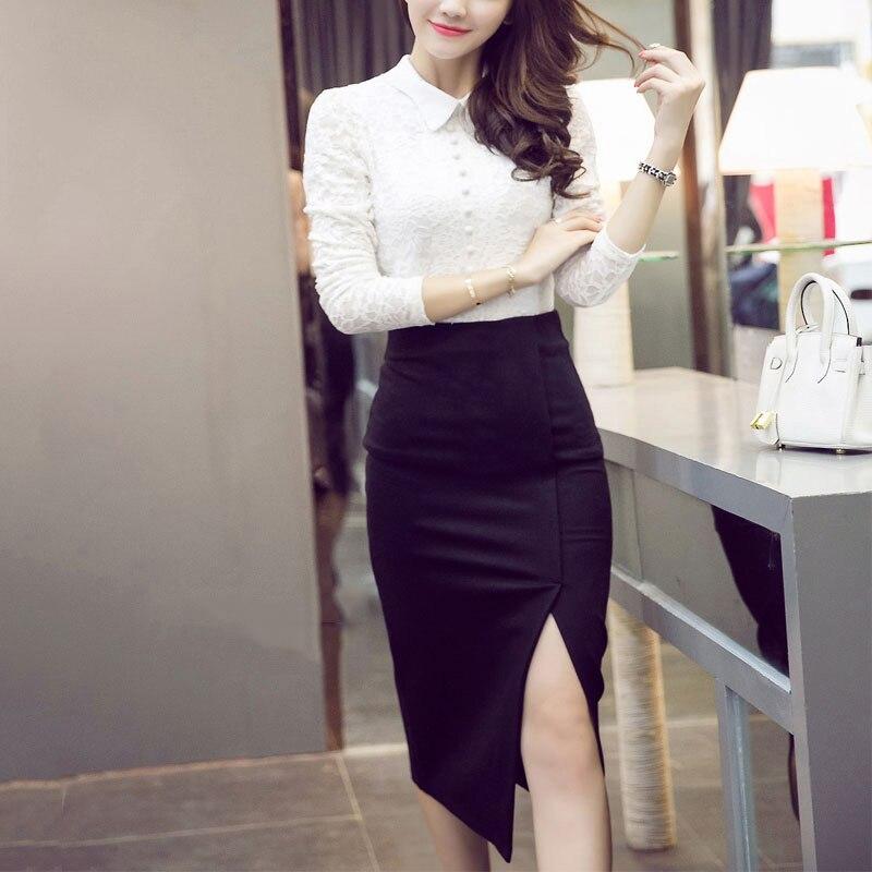 18 spring summer women Korean Style Split Skirts Casual Slim high Waist Hip Skirt Calf Elastic Plus Size lady skirt 2
