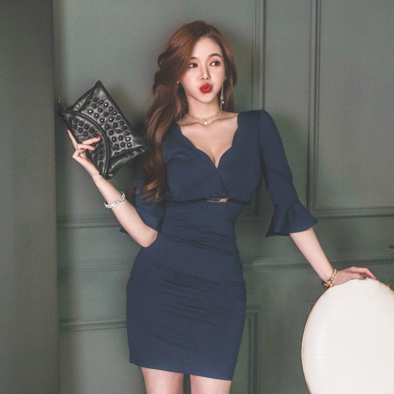 Korea Sexy Lady High Waist Flare Half Sleeve Solid Dress Women's V-Neck Mini Bodycon Club Vestidos 2